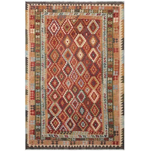 Handmade Herat Oriental Afghan Tribal Wool Kilim (Afghanistan) - 7' x 10'4
