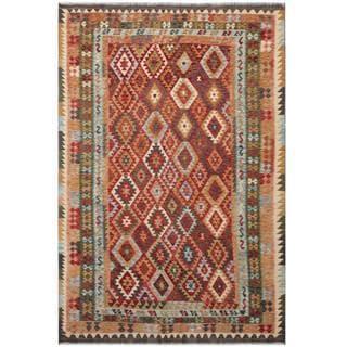 Herat Oriental Afghan Hand-woven Tribal Wool Kilim (7' x 10'4)