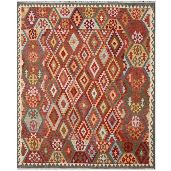 Handmade Herat Oriental Afghan Tribal Wool Kilim Rug (Afghanistan) - 8'2 x 9'7