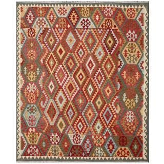 Herat Oriental Afghan Hand-woven Tribal Kilim Red/ Black Wool Rug (8'2 x 9'7)