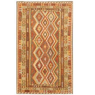Herat Oriental Afghan Hand-woven Tribal Kilim Rust/ Brown Wool Rug (5'10 x 9'6)