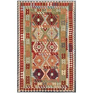 Herat Oriental Afghan Hand-woven Tribal Kilim Beige/ Black Wool Rug (6'4 x 9'6)