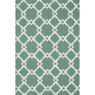 Hand-hooked Indoor/ Outdoor Capri Turquoise Diamond Rug (3'6 x 5'6)