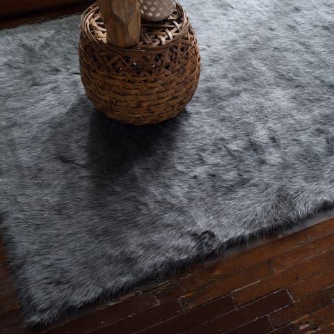 Faux Sheepskin Grey Graphite Shag Area Rug - 3' x 5'