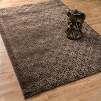 Transitional Distressed Damask Florette Rug - 9'2 x 12'2
