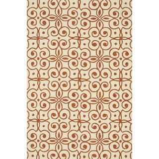 Hand-hooked Indoor/ Outdoor Capri Ivory/ Spice Rug (2'3 x 3'9)