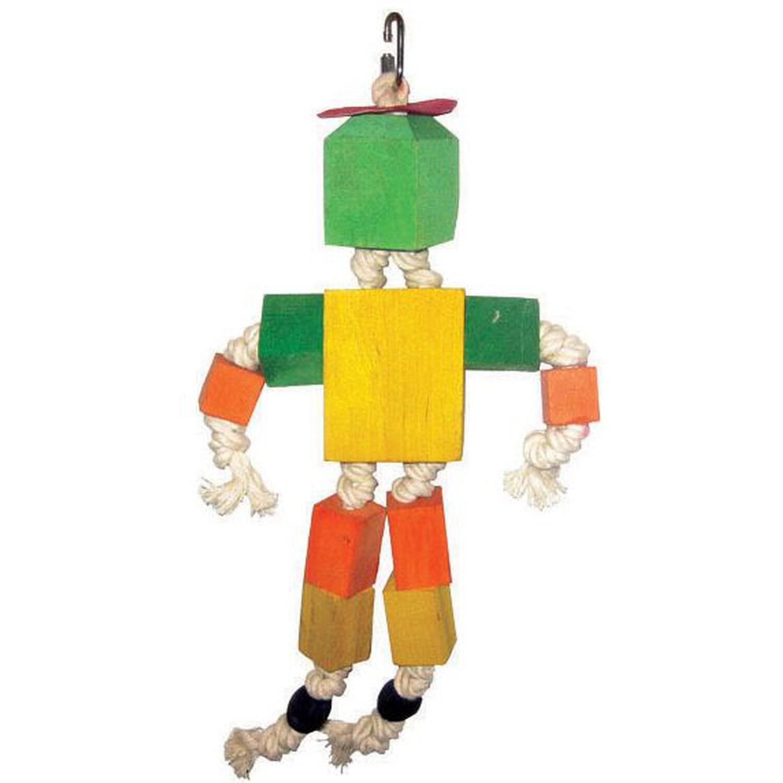 A&E Cage Wood Block Man Bird Toy (Bird Toy), Multi