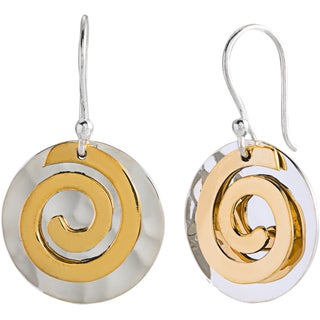 Two-tone Sterling Silver and Brass Swirl Disc Earrings