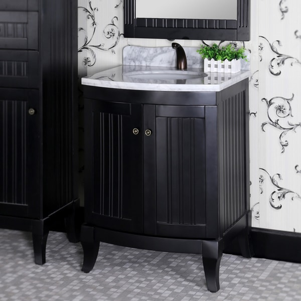 27 Inch Bathroom Vanities: Shop Country Style 27-inch Carrara White Marble Top Black