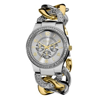 Akribos XXIV Women's Quartz Multifunction Crystal Accented Twist Chain Two-Tone Watch
