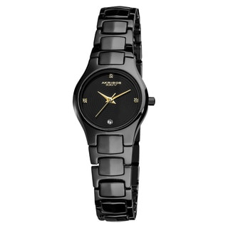 Akribos XXIV Women's Slim Quartz Movement Ceramic Black Bracelet Watch