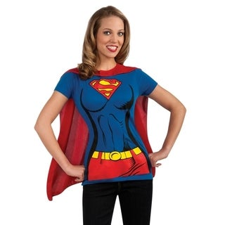 Supergirl Women's Blue/ Red T-shirt and Cape Costume (3 options available)