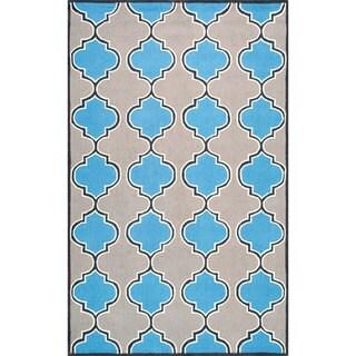 nuLOOM Handmade Modern Trellis Wool Area Rug (Blue - 8 x 10)