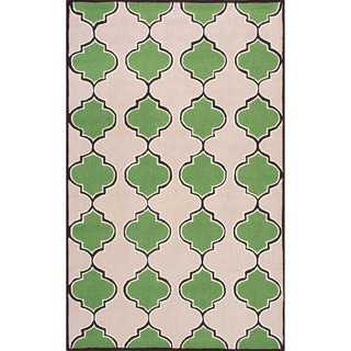 nuLOOM Handmade Modern Trellis Wool Area Rug (Green - 5 x 8)