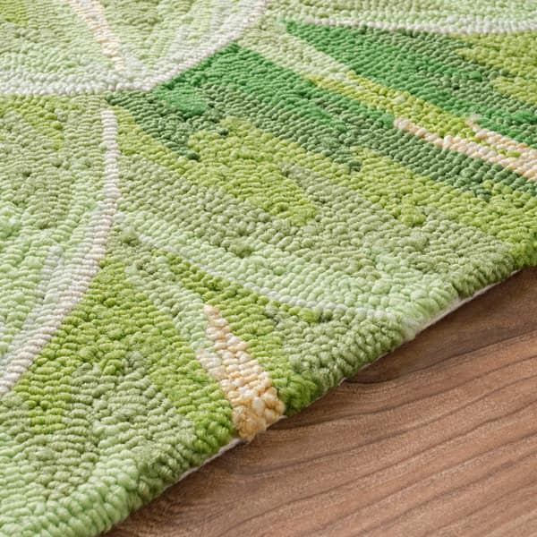 Shop nuLOOM Handmade Bold Abstract Floral Green Kitchen Rug ...
