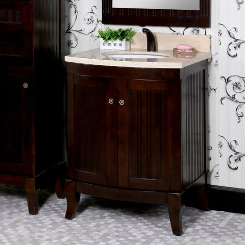 Country Style 27-inch Bellagio Brown Finish Beige Marble Top Single Sink Bathroom Vanity and Matching Framed Mirror