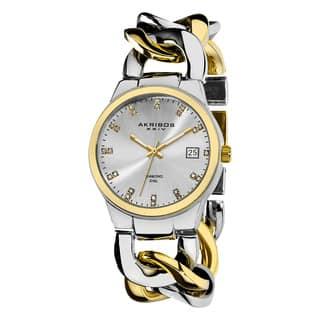 Akribos XXIV Women's Swiss Quartz Diamond Twist Chain Two-Tone Bracelet Watch with FREE GIFT https://ak1.ostkcdn.com/images/products/9831112/P16993872.jpg?impolicy=medium