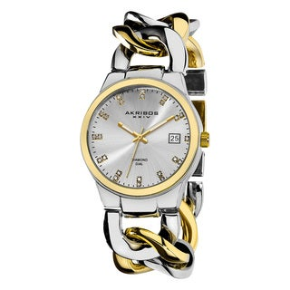 Akribos XXIV Women's Swiss Quartz Diamond Twist Chain Two-Tone Bracelet Watch