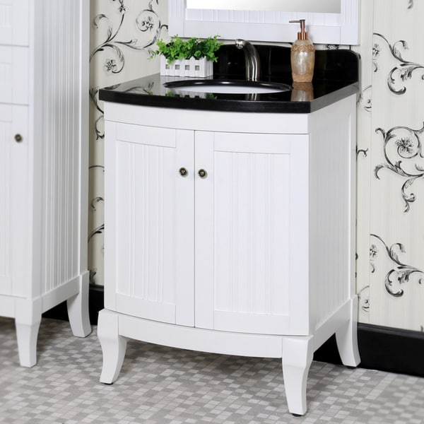 Country Style 27 Inch Black Granite Top White Single Sink Bathroom Vanity With Matching Wall