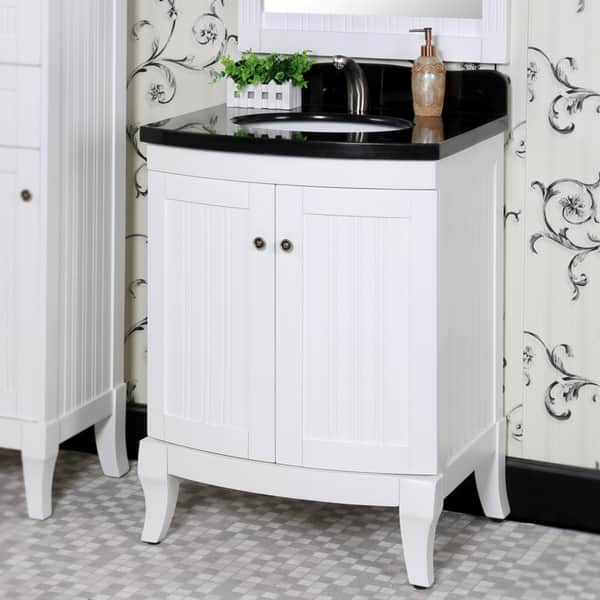 Country Style 27 Inch Black Granite Top White Single Sink Bathroom Vanity With Matching Wall Mirror Overstock 9831114