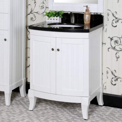 Country Style 27-inch Black Granite Top White Single Sink Bathroom Vanity with Matching Wall Mirror