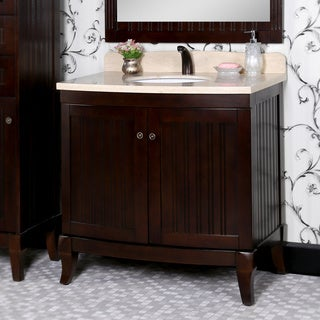 Country Style 36-inch Bellagio Brown Finish Beige Marble Top Matching Wall Mirror Single Sink Bathroom Vanity