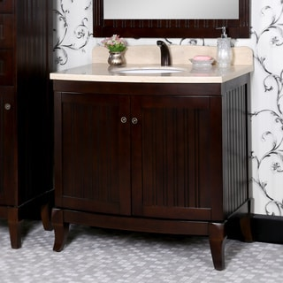 Fresca allier 36 inch grey oak modern bathroom vanity with mirror - 36 Inch Bellagio Brown Finish Beige Marble Top Matching Wall Mirror