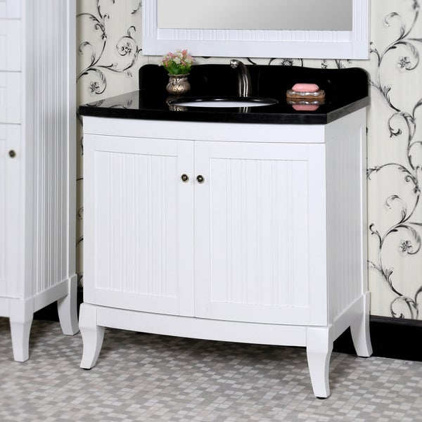 Shop Country Style 36 Inch White Finish Black Granite Top