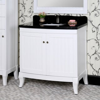 Country Style 36-inch White Finish Black Granite Top Matching Wall Mirror Single Sink Bathroom Vanity