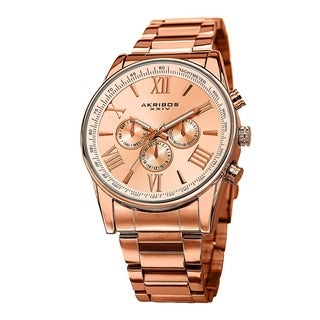 Akribos XXIV Men's Multifunction Tachymeter Stainless Steel Rose-Tone Bracelet Watch