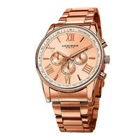 Akribos XXIV Men's Multifunction Tachymeter Stainless Steel Rose-Tone Bracelet Watch