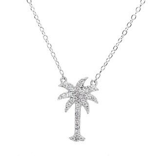 La Preciosa Sterling Silver Cubic Zirconia Micro Pave Palm Tree Necklace