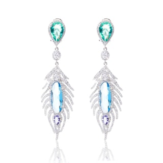 Blue Box Jewels Multi-Faceted CZ Feather Earrings
