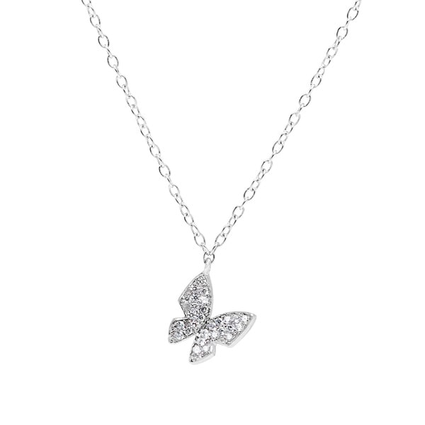 La Preciosa Sterling Silver Cubic Zirconia Micro Pave Small Butterfly Necklace