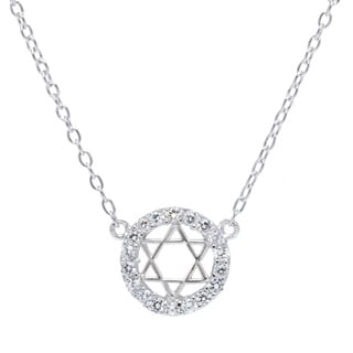 La Preciosa Sterling Silver Cubic Zirconia Star of David in Circle Necklace