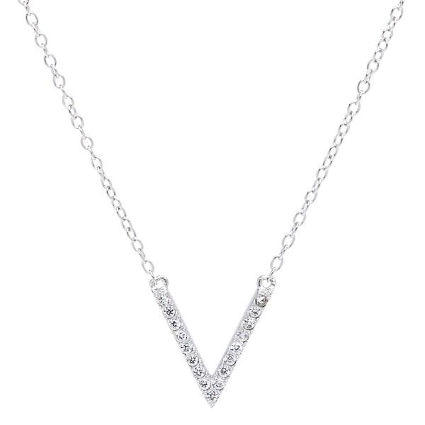 La Preciosa Sterling Silver Cubic Zirconia Micro Pave 'V' Necklace