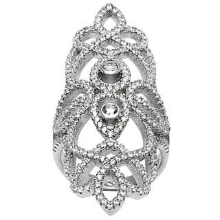 La Preciosa Sterling Silver Micro Pave Cubic Zirconia Large Design Ring