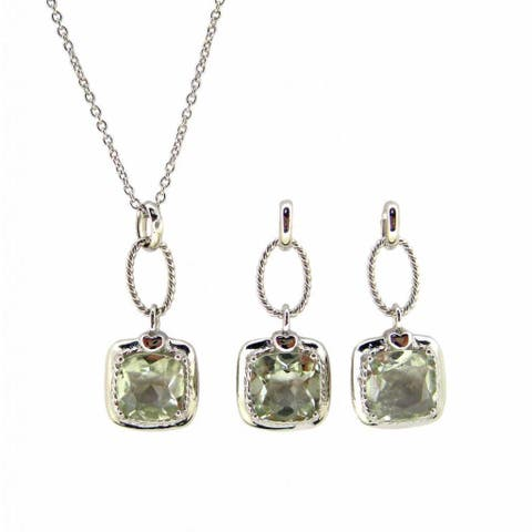 Kabella 3ct Green Amethyst Pendant and Earring Jewelry Set