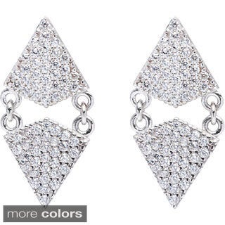 La Preciosa Sterling SIlver Double Triangle Cubic Zirconia Earrings