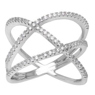 La Preciosa Sterling Silver Micropave Cubic Zirconia Double-X Ring