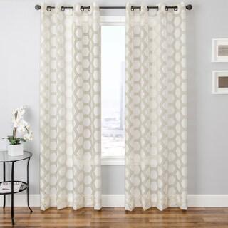 Andres Burnout Sheer Geometric Curtain Panel