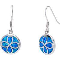 La Preciosa Sterling Silver Created Blue Opal Flower Design Circle Earrings