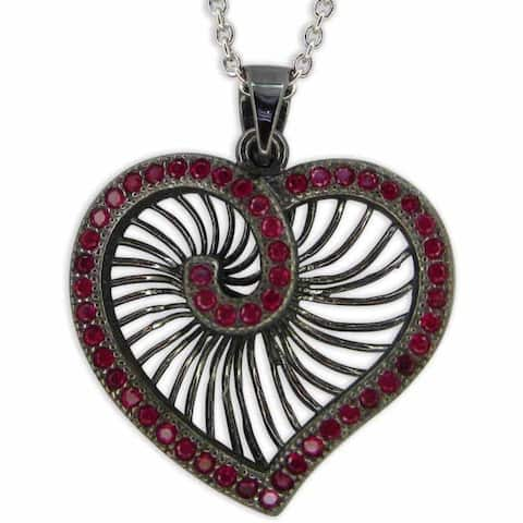 Kabella Red Heart Black Rhodium Plated Necklace