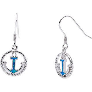 La Preciosa Sterling Silver Created Blue Opal Anchor Circle Earrings