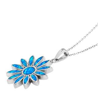 La Preciosa Sterling Silver Created Blue Opal Flower Pendant