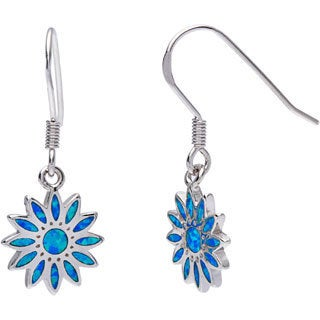 La Preciosa Sterling Silver Created Blue Opal Flower Earrings