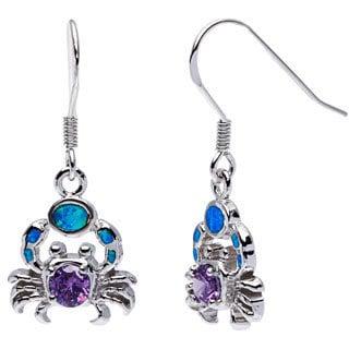 La Preciosa Sterling Silver Created Blue Opal and Amethyst CZ Crab Earrings