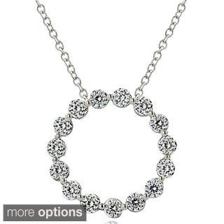 ICZ Stonez Sterling Silver 100-faceted Cubic Zirconia Circle Necklace