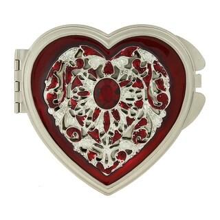 1928 Silver-toned Enamel/ Crystal Heart Mirror Compact