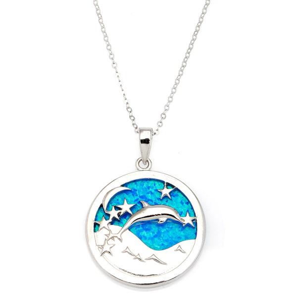 La Preciosa Sterling Silver Created Blue Opal Leaping Dolphin Circle Pendant